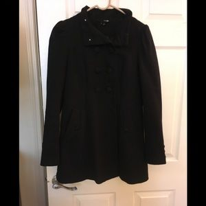 Black double breasted coat with front pockets